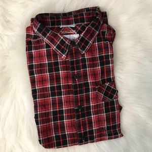 Columbia Button Down Shirt Large Red Plaid